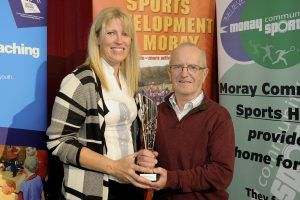 2016 sportMoray Awards Evening at Elgin Town Hall. Veteran Sport Athlete Award Presented by: Kathryn Evans (Springfield Properties Moray Sports Centre) Winner: George Grant (Cycling) Picture: Daniel Forsyth. Image No.035757