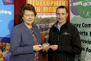 2016 sportMoray Awards Evening at Elgin Town Hall. Coach Award Presented by: Ann Rossiter (Chair sportMoray) Winner: Keith Gammie - collected by Paul Rogan of activeschools on Keith's behalf. Picture: Daniel Forsyth. Image No.035757