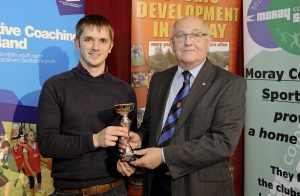2016 sportMoray Awards Evening at Elgin Town Hall. Special Achievement Award Presented by: Sandy Ritchie (Elgin Rotary Club President) Winner: Craig Barron. Picture: Daniel Forsyth. Image No.035757