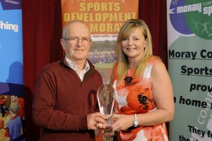 2016 sportMoray Awards Evening at Elgin Town Hall. Overall Moray Sports Personality of the Year Presented by: Emma Baird (Mortgage Adviser Campbell & McConnachie) Winner: George Grant Picture: Daniel Forsyth. Image No.035757