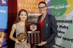 2016 sportMoray Awards Evening at Elgin Town Hall. The Heather Stanning Award for Intermediate Sportswomen. Presented by: Double Olympic Gold medalist Heather Stanning MBE. Winner: Anna MacFadyen (Athletics) Picture: Daniel Forsyth. Image No.035757