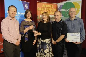 2016 sportMoray Awards Evening at Elgin Town Hall. Community Engagement Award Presented by: Tracey Gervaise (Heath and Wellbeing NHS Grampian) Winner: Elgin Parkrun. Picture: Daniel Forsyth. Image No.035757